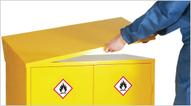 dangerous substance sloping top cabinets